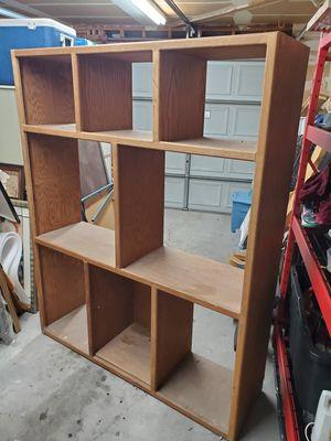 Solid oak shelving unit ,,, storage , shelf for Sale in Las Vegas, NV
