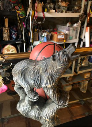 Hand carved Folkart wood USA grizzly bear for Sale in Edmonds, WA