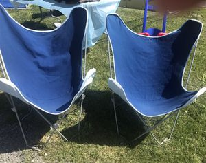 2 Blue Butterfly Chairs for Sale in Bristow, VA