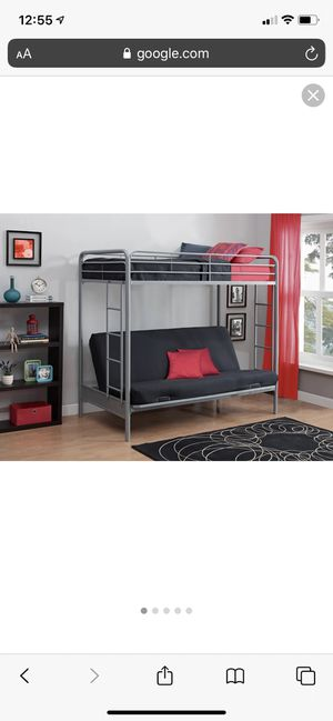 *Brand New* DHP twin-over futon metal bunk bed, silver for Sale in Dublin, OH
