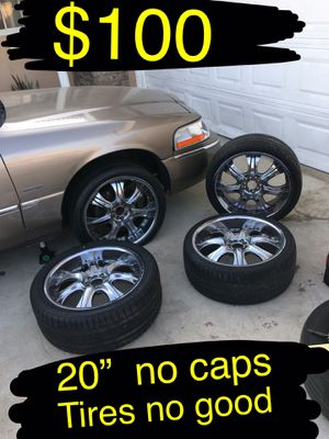"""$80 takes them tires no good. 20"""" chrome rims. Universal 5 lugs Will fit all 5 lug cars except for probly. BMW. Mercedes. Audi Vw for Sale in Ontario, CA"""