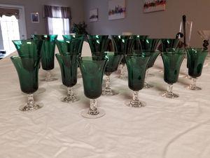 Antique Green Stemmed Glass Set for Sale in Summerville, SC