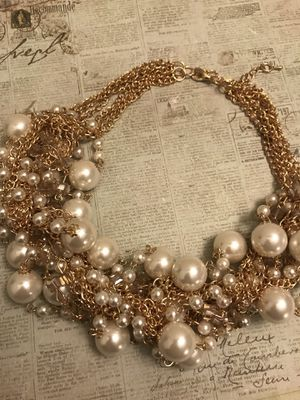 Gold and pearl bib necklace for Sale in Richmond, VA