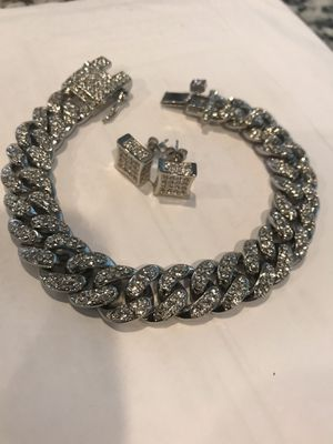 Men IcedOut Bracelet and Pierced Earings for Sale in St. Clair Shores, MI