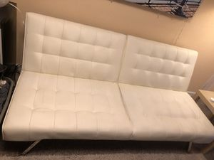 White Faux Leather DHP Emily convertible futon & White Faux Leather Chair for Sale in Kirkland, WA