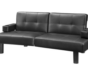Mainstays Connectrix Faux Leather Futon with Cupholders, Black for Sale in Las Vegas,  NV