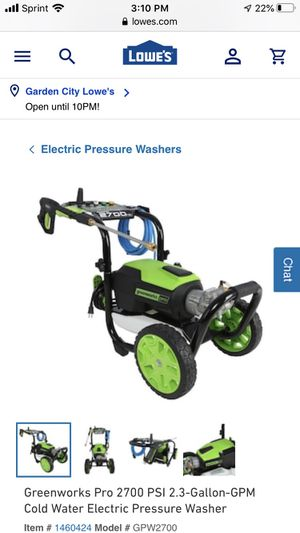 Pressure Washer Greenworks Pro 2700 PSI 2.3 Gallon electric for Sale in Freeport, NY