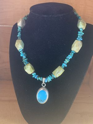 Gorgeous Handcrafted Antique Silver Turquoise and Serpentine Necklace for Sale in Carlsbad, CA