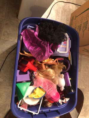 Bin full of vintage barbies and other assorted toys from the 80's and early 90's for Sale in Herndon, VA