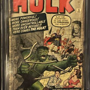 The Incredible Hulk #5 KEY ISSUE CGC 2.0 First Tyrannus for Sale in Los Angeles, CA