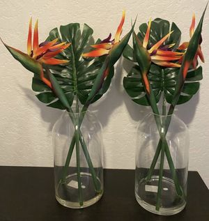 Set of 2 faux floral fake flowers birds of paradise plants in glass vases table centerpieces summer party decor patio furniture decorations for Sale in Lake Forest, CA