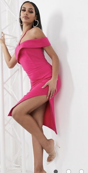 HMS one shoulder hot pink dress thigh open on one side , $115 for Sale in Laguna Niguel, CA