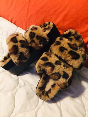 Fur bee Leopard wedge sandle-Size 6M for Sale in Kansas City, MO