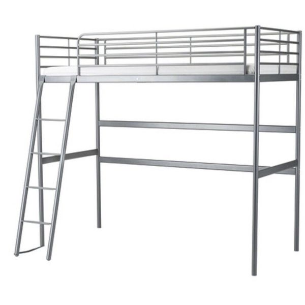 Twin Gray Metal Loft Bed