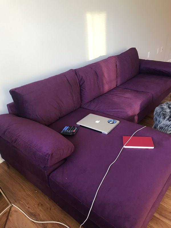 Purple Velvet Sectional Sofa