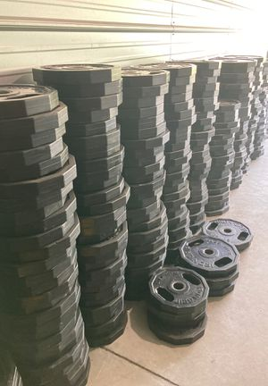Rubber coated weight plates - 45, 35, 25 for Sale in Sunnyvale, CA