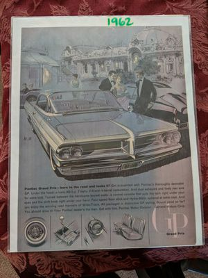 New, unopened. 1962 magazine ad for Pontiac - Grand Prix, born to the road and looks it!! for Sale in Summit Point, WV