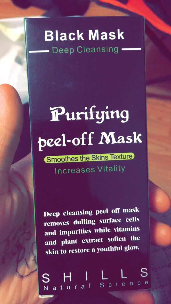 Charcoal peel of face mask