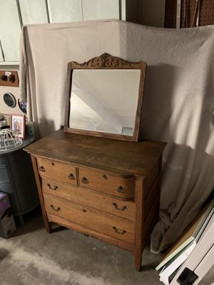 Late Victorian Antique Serpentine Oak Dresser and Mirror for Sale in Newport Beach, CA