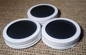 Chalkboard 3 Mason Jar Regular Mouth Lid/Ring White Powder Coat Finish for Sale in Montezuma, OH