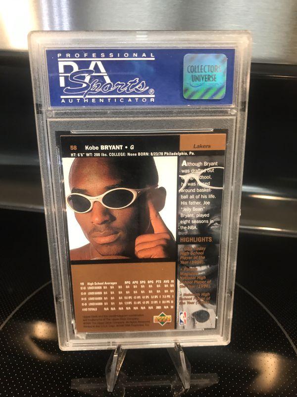 1996 Upper Deck Kobe Bryant ROOKIE Card #58 RC - PSA 8 Graded - RARE Lakers Black Mamba NBA Collectible - $129 OBO
