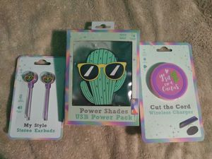 Cactus earbuds,powerbank and wireless charger for Sale in Fort Lauderdale, FL