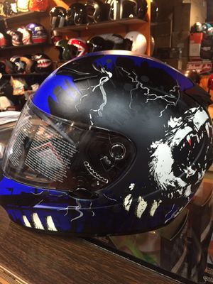 New blue and black dot motorcycle helmet $95 for Sale in Whittier, CA