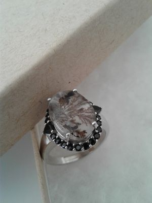 Rutilated Quartz Ring, Size 8, Platinum over Sterling Silver for Sale in Woodbridge, VA