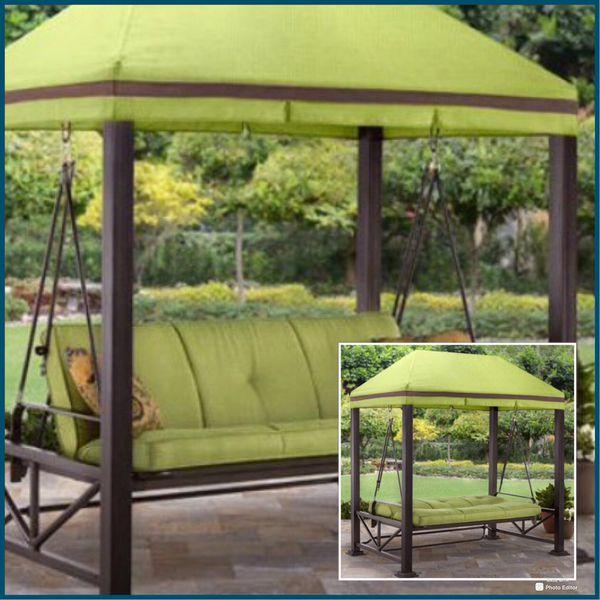 New!! 3 Person Gazebo,Porch Swing/Bed,Outdoor Gazebo
