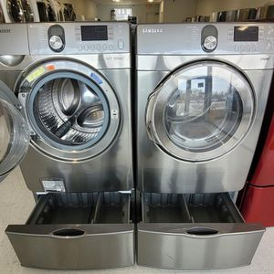 Samsung Front Load Washer And Electric Dryer Set With Pedestal Used In Good Condition With 90day's Warranty for Sale in Brentwood, MD