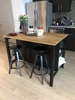 IKEA Kitchen Island/Table and 2 Stools for Sale in Los Angeles, CA