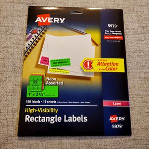 "Avery 5979 Neon Laser Address Labels, 1"" X 2-5/8"", Assorted Colors, 450/Box for Sale in Hamburg, NY"