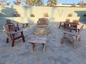 7 Piece Adirondack Red Wood Patio Set (Used) for Sale in Whittier, CA