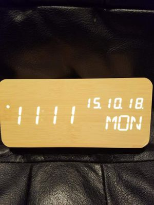 Wooden Travel Clock with Time/Date/Week/Temperature/USB Desk Shelf Clocks, Small dent in corner shown in picture, New open box. for Sale in Fort Worth, TX