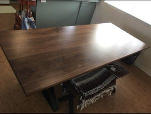 Custom made 100% walnut farm style dining room table for Sale in Denver, CO
