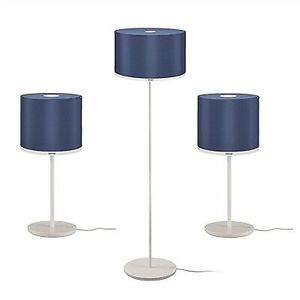 2 table lamps 1 floor lamp with heavy Base's blue fabric shades for Sale in Brooklyn, NY