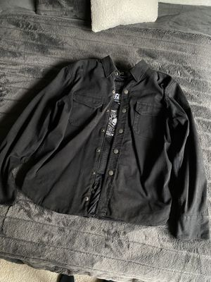 Padded Black Jean Motorcycle Jacket - Size Large for Sale in Santa Ana, CA