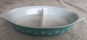 Vintage 1960'S Pyrex Snowflake Aqua Teal Turquoise 1.5 QT Divided Dish Bakeware for Sale in Hialeah, FL