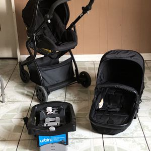 LIKE NEW URBINI OMNI PLUS TRAVEL SYSTEM STROLLER CAR SEAT AND BASSINET 3 In 1 for Sale in Riverside, CA