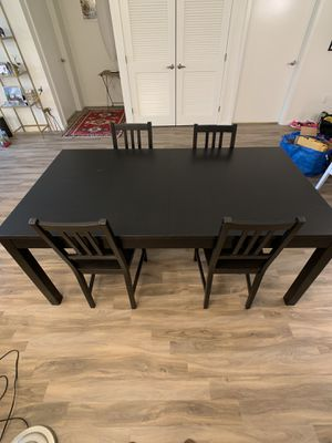 Ikea Bjursta table and four chairs for Sale in Seattle, WA