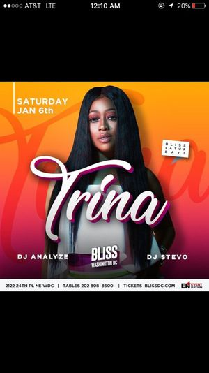 Trina Live at Bliss DC for Sale in Washington, DC