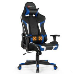 Massage Blue Gaming Chair Reclining Swivel Racing Office Chair with Lumbar Support for Sale in Diamond Bar,  CA