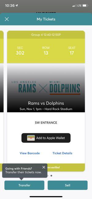Miami Dolphins vs Rams for Sale in Hialeah, FL