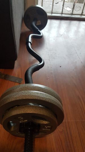 Curl bar and weights for Sale in Los Angeles, CA