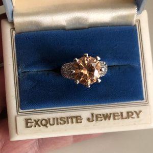 Sterling silver ring orange citrine topaz copper color 925 ladies jewelry size 6 for Sale in Nashville, TN
