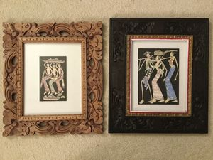 Beautiful Indonesian art with hand cut wood frame for Sale in Bellevue, WA