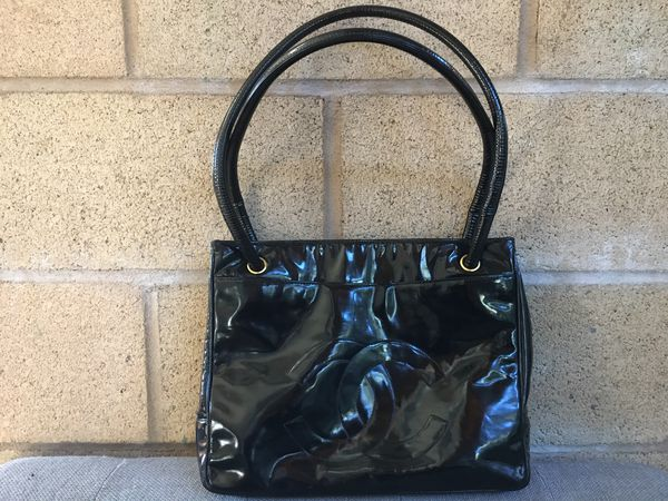 Authentic Chanel Patent Leather Tote Bag