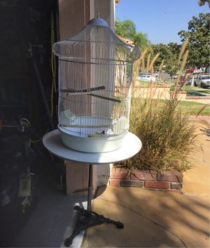 Bird cage with vintage metal stand for Sale in Corona, CA