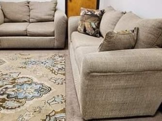Tan Couch And Loveseat Set With Throw Pillows for Sale in Denver,  CO