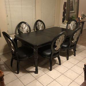 Elegant Washed Black Solid Wood Dining Set for Sale in Las Vegas, NV
